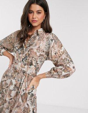 Платье-рубашка с рукавами-кимоно и светлым змеиным принтом Closet-Бежевый Closet London