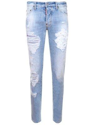 Хлопковые джинсы с потертостями DSQUARED2