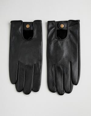 Черные кожаные перчатки -Черный ASOS DESIGN
