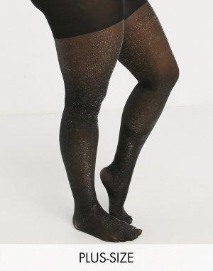 Черные блестящие колготки Curve-Черный Gipsy