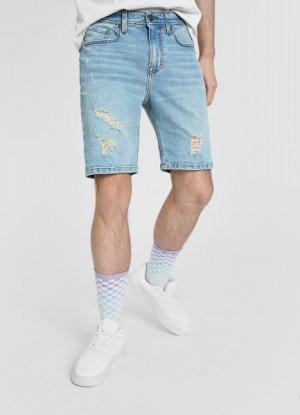 Джинсовые шорты с разрывами O`Stin. Цвет: голубой