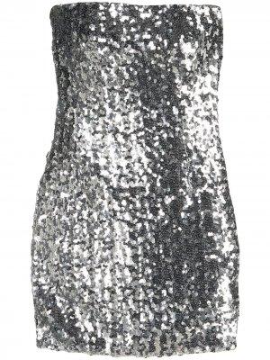 Платье с пайетками Faith Connexion. Цвет: серебристый