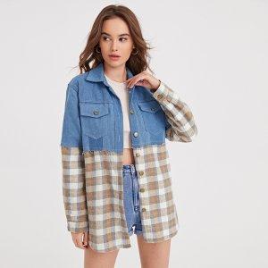 Джинсовая куртка с пуговицами в клетку SHEIN. Цвет: многоцветный