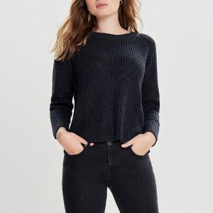 Пуловер с круглым вырезом и длинными рукавами JACQUELINE DE YONG. Цвет: темно-синий меланж
