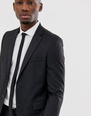Темно-серый эластичный пиджак зауженного кроя Moss London BROS
