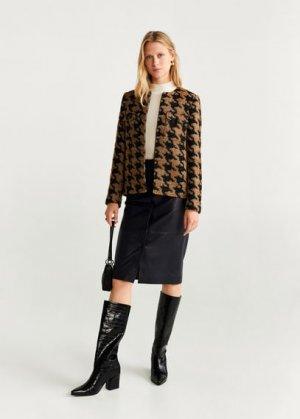 Кожаная юбка-карандаш - Silvia Mango. Цвет: черный