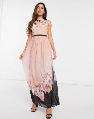 Персиковое платье макси с цветочным принтом -Розовый цвет Little Mistress