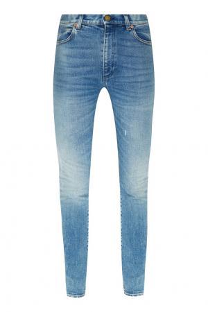 Голубые джинсы скинни с патчами Gucci. Цвет: голубой