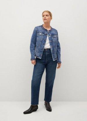 Джинсовая куртка с бахромой - Coco Mango. Цвет: синий средний