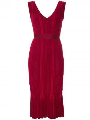 Платье с V-образным вырезом Hervé Léger. Цвет: красный