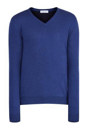 Базовый джемпер из шерсти с V-образным воротом и длинными рукавами GRAN SASSO. Цвет: синий