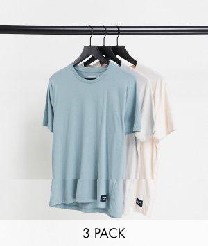 Набор из трех футболок розового, светло-коричневого и голубого цвета с логотипом -Многоцветный Abercrombie & Fitch