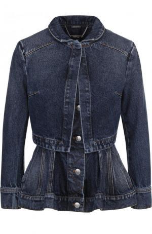 Приталенная джинсовая куртка с потертостями и баской Alexander McQueen. Цвет: синий