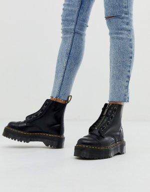 Черные кожаные ботинки на плоской платформе с молнией Sinclair-Черный Dr Martens