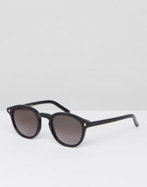 Солнцезащитные очки в круглой черной оправе nelson Monokel Eyewear. Цвет: черный
