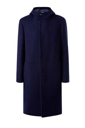 Минималистичное пальто из двухслойной шерстяной ткани CANALI. Цвет: синий
