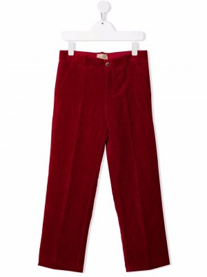 Бархатные брюки прямого кроя Gucci Kids. Цвет: красный