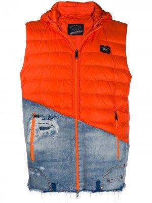 Комбинированный жилет с капюшоном Greg Lauren X Paul & Shark. Цвет: оранжевый