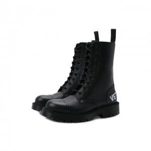Кожаные ботинки VETEMENTS. Цвет: чёрно-белый