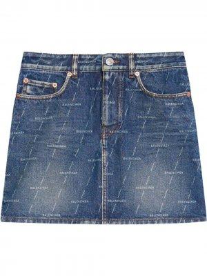 Джинсовая юбка мини с логотипом Balenciaga. Цвет: синий