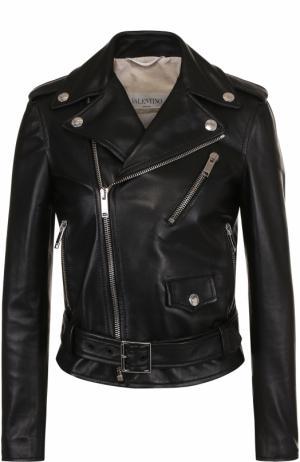 Приталенная кожаная куртка с косой молнией Valentino. Цвет: черный