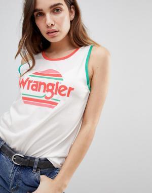 Майка с логотипом и полосками в стиле заката Wrangler. Цвет: белый