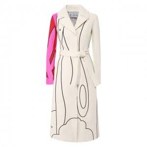 Кожаное пальто Off-White. Цвет: белый