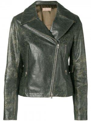 Байкерская куртка 1980-х годов с эффектом потертости Alaïa Pre-Owned. Цвет: зеленый