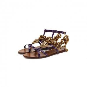 Кожаные сандалии Devotion Dolce & Gabbana. Цвет: фиолетовый
