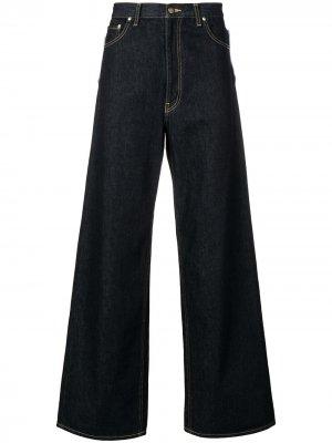 Расклешенные широкие джинсы Facetasm. Цвет: синий