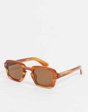 Солнцезащитные очки в квадратной черепаховой оправе стиле унисекс Cut Thirteen-Коричневый цвет Spitfire