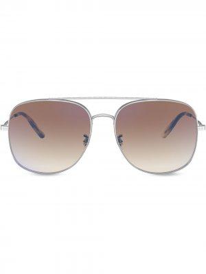 Солнцезащитные очки Taron Oliver Peoples. Цвет: серебристый