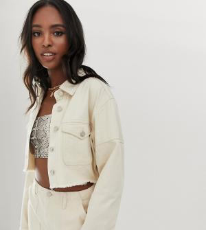 Co-ord deim cropped jacket in ecru Missguided Tall. Цвет: белый