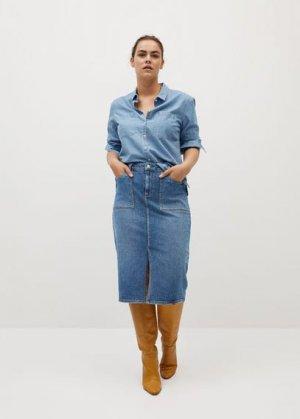 Миди-юбка из денима - Giralda Mango. Цвет: синий средний
