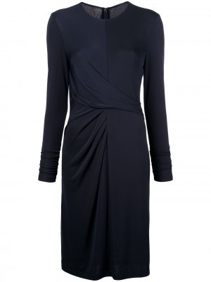 Приталенное платье с длинными рукавами Elie Tahari. Цвет: синий