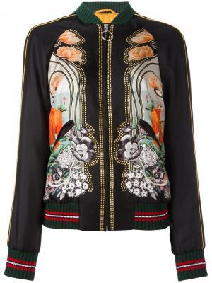 Куртка бомбер с принтом Gucci. Цвет: многоцветный