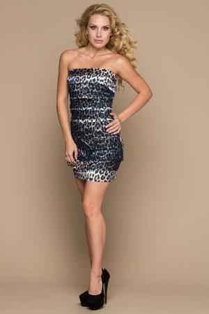 Платье Gloss. Цвет: темно-синий леопард