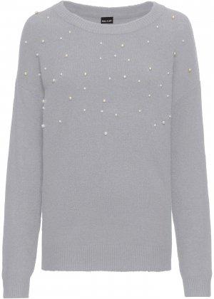 Пуловер с бусинами bonprix. Цвет: серый