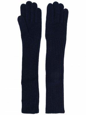 Шерстяные перчатки в рубчик Aspesi. Цвет: синий