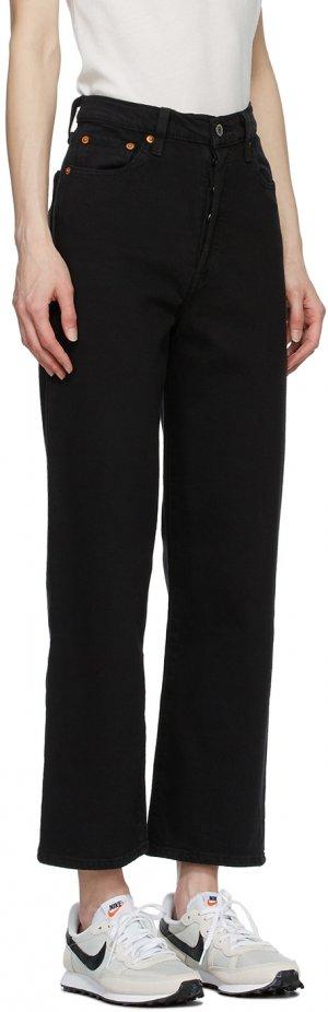 Levis Black Ribcage Straight Ankle Jeans Levi's. Цвет: black heart