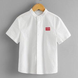 Рубашка с текстовым узором для мальчиков SHEIN. Цвет: белый