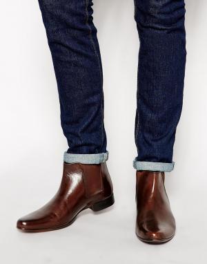 Коричневые кожаные ботинки челси с петлей на заднике ASOS DESIGN. Цвет: коричневый