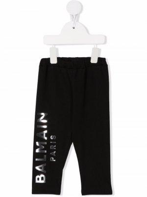 Metallic logo-print cotton leggings Balmain Kids. Цвет: черный