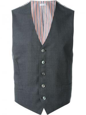 Классический жилет Thom Browne. Цвет: серый