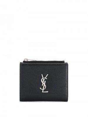 Кошелек c декором Monogram Saint Laurent. Цвет: черный