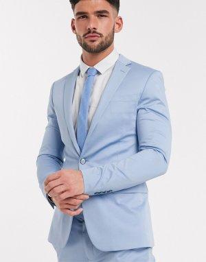Сатиновый приталенный пиджак -Голубой Devils Advocate