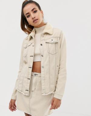 Комбинируемая джинсовая куртка серовато-бежевого цвета с воротником \борг\ и контрастными швами -Белый Missguided