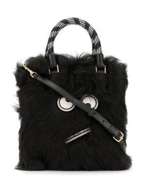 Меховая сумка-тоут Amused Face Anya Hindmarch. Цвет: черный