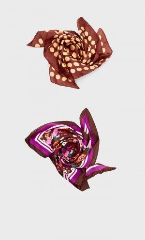 Набор Из 2 Бандан В Стиле Ретро С Цветочным Принтом И Горошек Коричневый 103 Stradivarius. Цвет: коричневый