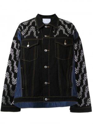 Декорированная джинсовая куртка оверсайз Koché. Цвет: черный